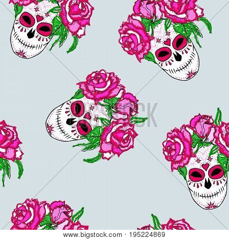 Seamless pattern with sugar skull and pink roses. Day of the dead (Dia de los muertos)