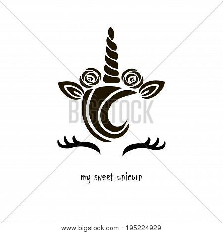 Cute template with unicorn cake logo. Vector illustration. It can be used for invitation, birthday, greetings, party, love you card, sweet children menu.