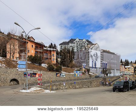 St. Moritz, Switzerland - 3 March, 2017: view of the town of St. Moritz from Bahhofplatz square. St. Moritz is a municipality and an alpine resort in the Engadine region of the Swiss canton of Graubunden.
