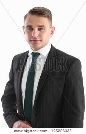 Handsome Smiling Man In Suit And Tie Looking At Camera