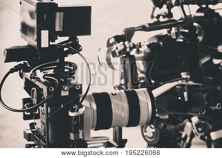 detail of professional camera equipment, film production studio