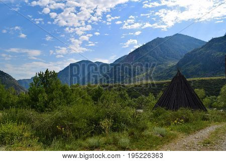 Traditional dwelling of Altaians. Altai mountains Altay Republic Siberia Russia.