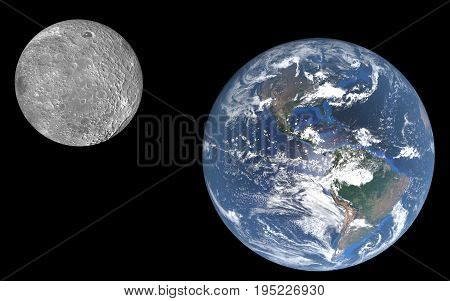 Full visibility of the earth with atmosphere and clouds and the moon from space 3D rendering detailed images furnished by NASA