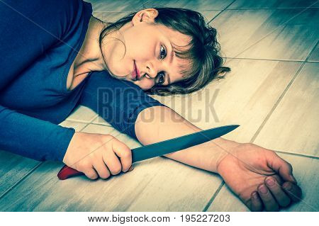 Depression Woman Wants To Commit Suicide With Knife