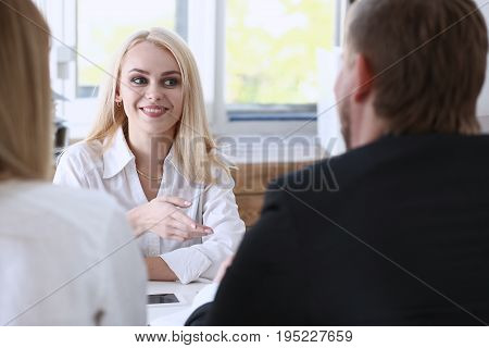 Young couple trying to get loan at bank clerk consultant office. Planning future married life social service expectation discussion startup mortgage internal revenue officer visit concept