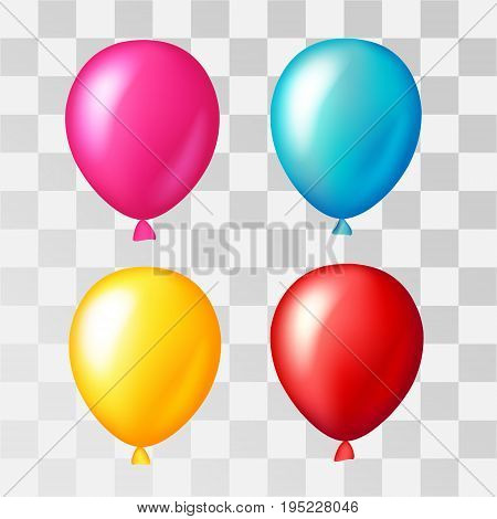 Colorful balloons in realistic style. Decorations for bithday party anniversary design