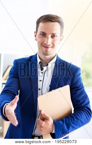 Smiling Handsome Cheerful Man Offer Hand As Hello