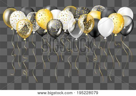 Black white gold transparent and with confetti balloons border. Decorations in realistic style for birthday anniversary or party design.