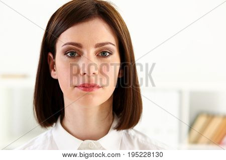 Beautiful smiling businesswoman portrait at workplace look in camera. White collar worker at workspace exchange market job offer certified public accountant internal Revenue officer concept