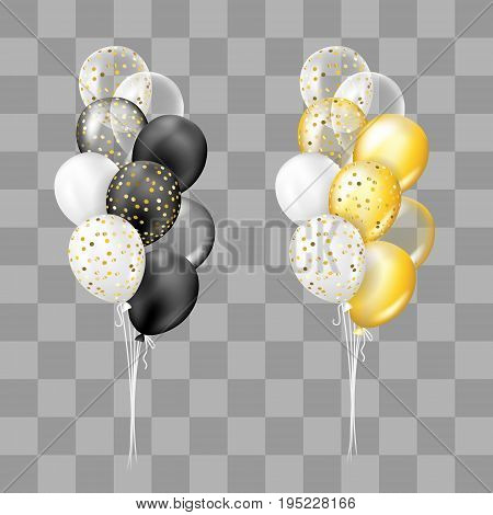 Black and white gold and white transparent and with confetti balloons bunch collection. Decorations in realistic style for birthday anniversary or party design.