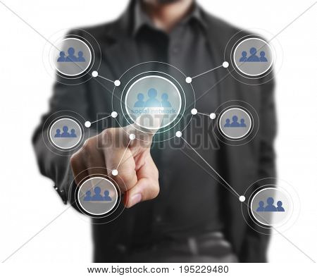 Hand touch virtual icon social network