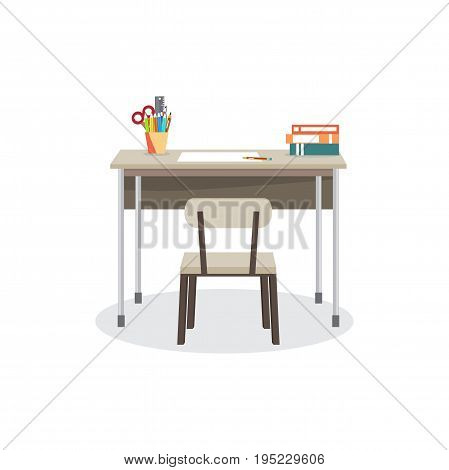 School desk with a chair. On the table are the school supplies. Vector isolated flat cartoon illustration