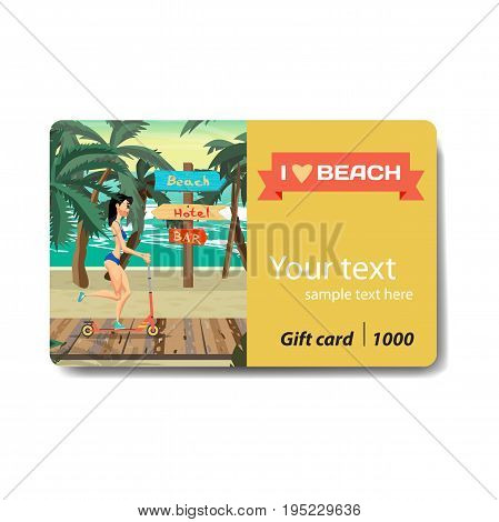 Young woman in a bikini is riding a kick scooter. Sale discount gift card. Branding design to the resort and a sports goods store