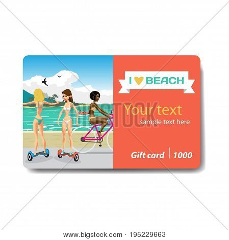 Young women in bikini ride gyroscopes and bicycles along the path near the beach. Sale discount gift card. Branding design to the resort and a sports goods store