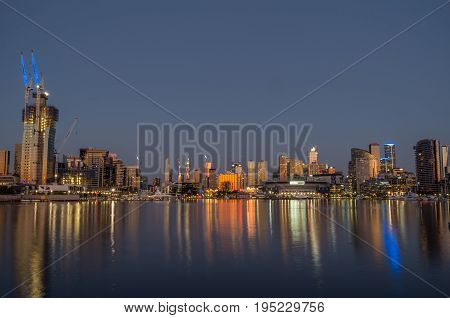 Victoria Harbour and the Melbourne skyline at Docklands in Australia.