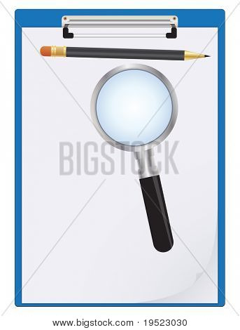 Clipboard, paper sheet, pencil and magnifier