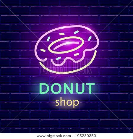 Donut shop neon logo sign on dark brick wall background. Light banner signboard. Electric label emblem. Vector design element