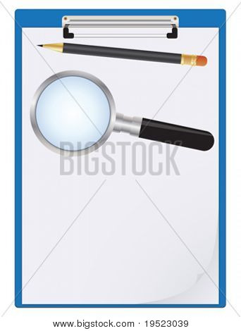 Clipboard with paper sheet, pencil and magnifier