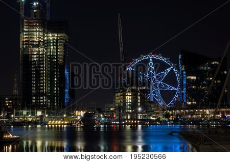 Melbourne, Australia - January 6, 2017: Melbourne Star observation wheel at Docklands in Melbourne.