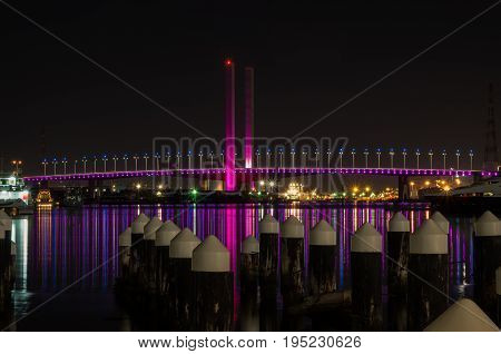 Bolte Bridge crossing the Yarra River at Docklands in Melbourne Australia