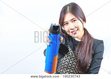 Woman holding insect spray isolated on white background.