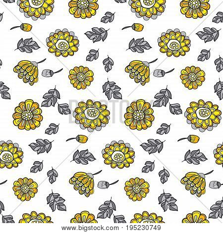 yellow decorative floral fall seamless pattern. black and gray vector illustration flower motif