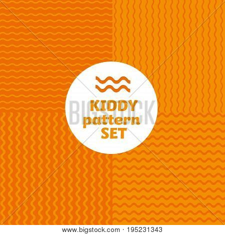 orange color wave simple bright color pattern motif for kids. vector background with geometry shape.