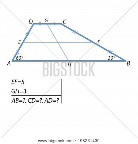 The middle line of the trapezoid is equal to 5, and the segment connecting the middle of the base is equal to 3. The angles at a greater base of the trapezoid are 30 degrees and 60 degrees. Find the base and the lower side of the trapezoid.