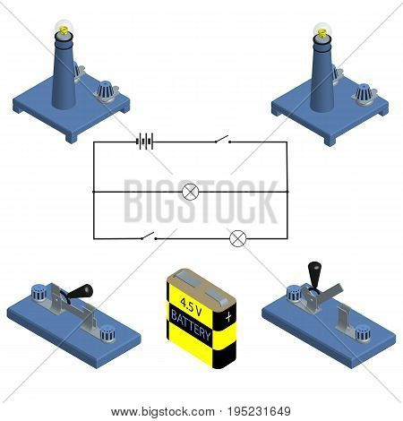 Circuit. concept of battery with power switch. flat design. Vector illustration.