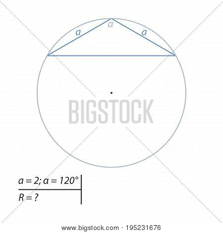 Vector illustration of a geometrical problem to find the diameter of the circumscribed circle