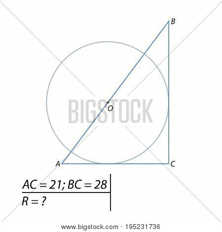Vector illustration of the problem of finding a circle of radius