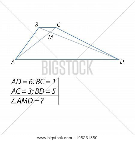 Vector illustration of the problem of finding the angles of the intersection point of the diagonals