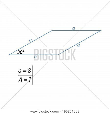 Vector illustration of the problem of finding the area of a rhombus-01