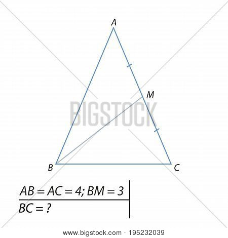 Vector illustration of a problem finding the base of the triangle-01