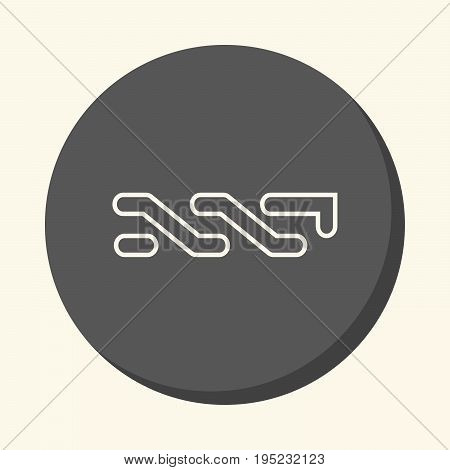 Symbol of digital crypto currency nxt round line icon with illusion of volume simple color change