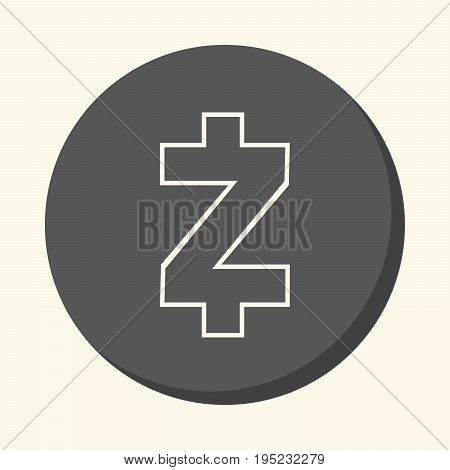 Symbol of digital crypto currency Zcash round line icon with illusion of volume simple color change