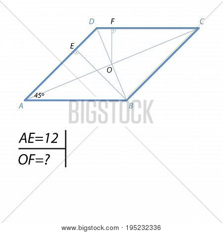 The acute angle A rhombus ABCD is 45 degrees, the projection of AB side to side AD is equal to 12. Find the distance from the center to the sides of the rhombus CD.