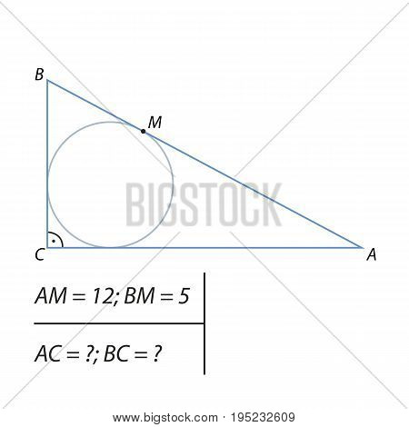 Vector illustration of the problem of finding the legs of a right triangle