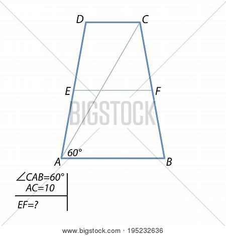 Diagonal equilateral trapezoid is 10 and forms an angle of 60 degrees, with a trapezoid base. Find the center line of the trapezoid.