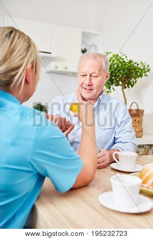 Nursing service and assistance for senior man with dementia