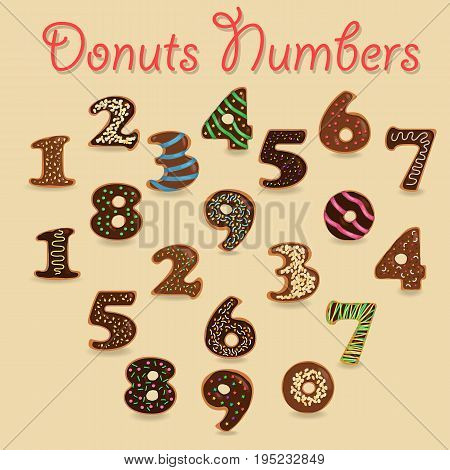 Chocolate Donuts Numbers. Brown Numerals with colorful cream and nuts decor. Illustration