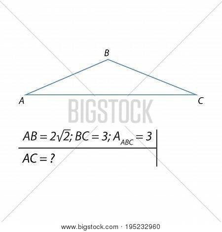 Vector illustration of a geometrical problem for finding the third side of the triangle