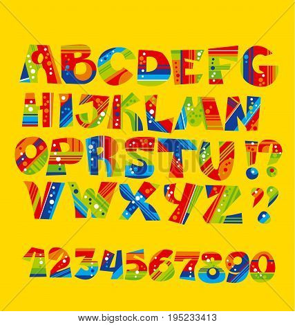 bright childish style letter set. geometry textures funny font for preschool kids