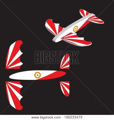 Illustration of an airplane or kite model decoration