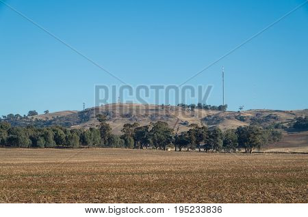 Mount Major and its television transmission towers at Dookie near Shepparton Australia