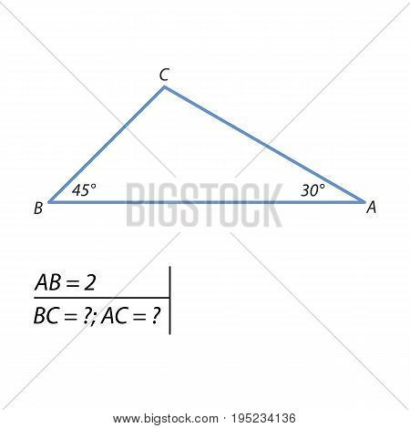The problem of calculating the leg and the hypotenuse of a right triangle by the Pythagorean theorem