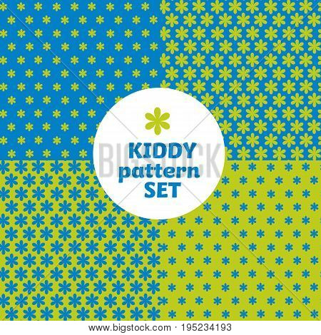 blue  flower daisy simple bright color pattern motif for kids. vector background with geometry shape icons.