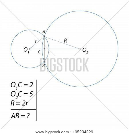 Task for calculating the total chord between two circles of different diameters
