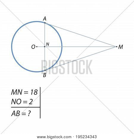 Landing on a circle with center O at points A and B, intersect at point M. Find the chord AB, if the segment MO divided it into sections equal to 2 and 18.