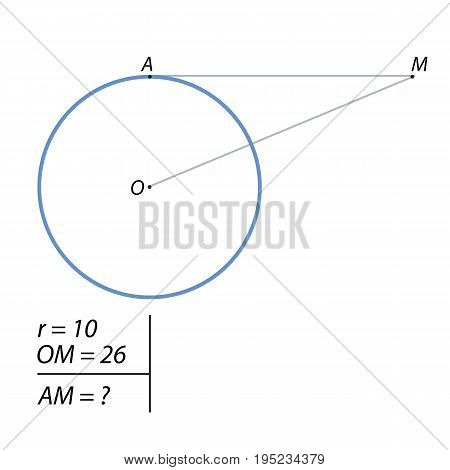 The line passing through the M, 10 remote from the radius of the circle center at a distance equal to 26, tangent to the circle at point A. Find the AM.